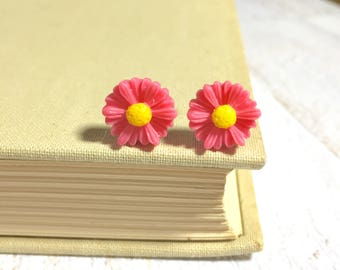 Dark Pink Flower Studs, Pink Gerbera Daisy Studs, Flower Stud Earrings, Resin Flower Earrings, Bridesmaid Gift, KreatedByKelly (LB3)
