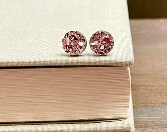 Sparkly Little Faux Druzy Stud Earrings in Rose Gold with Stainless Steel Posts