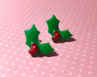 Christmas Holly Earrings, Fun Christmas Flower Studs, Holly Berry Studs, Christmas Studs, Holiday Jewelry, Surgical Steel (SE10)