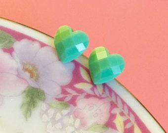 Mint Green Earrings, Heart Stud Earrings, Resin Jewelry, Bridesmaid's Gift Earrings, Valentine's Day Stud Earrings, KreatedByKelly (LB3)