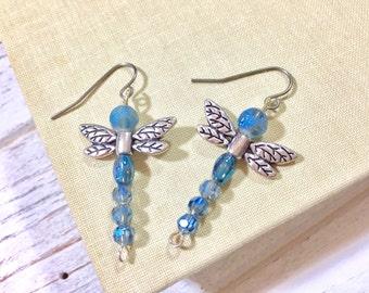 Beaded Dragonfly Earrings, Blue Dragonfly Earrings, Bug Dangle Earrings, Woodland Earrings, Nature Earrings, Insect Earring, KreatedbyKelly