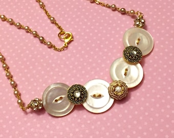 Antique Czech Glass Rhinestones and Mother of Pearl Buttons Assemblage Necklace with Repurposed Beaded Rosary Style Chain KreatedbyKelly