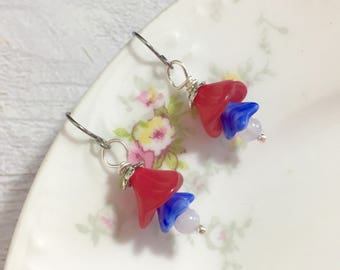 Czech Glass Flower Short Dangle Drop Earrings in Patriotic Red White and Blue for 4th of July Independence Day Surgical Steel