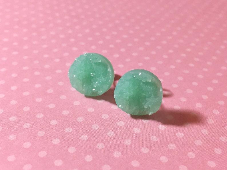 Mint Green Druzy Studs Pastel Green Stud Earrings SE5 Mint Green Drusy Studs Druzy Jewelry Surgical Steel Studs KreatedByKelly