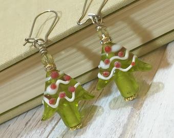 Christmas Tree Earrings, Lampwork Glass Earrings, Green Glass Decorated Tree Earrings, Holiday Earring, Surgical Steel, KreatedbyKelly (DE2)