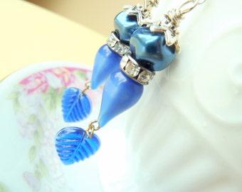 Blue Leaf Earrings, Assemblage Jewelry, Woodland Earrings, Vintage Rhinestone Beaded Earrings, Handmade By KreatedByKelly