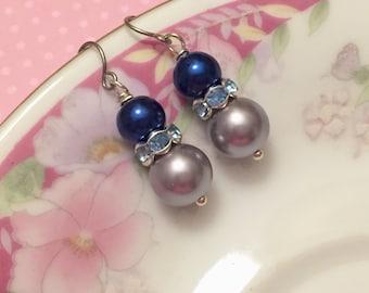 Pearl Earrings, Gray Blue Earrings, Rhinestone Earrings, Pearl Drop Earrings, Short Dangle Earrings, Affordable Jewelry, (DE3)