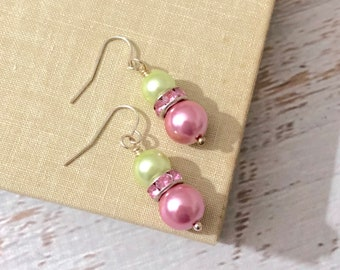 Pink and Mint Green Glass Pearl and Rhinestone Easter Earrings with Surgical Steel Ear Wires