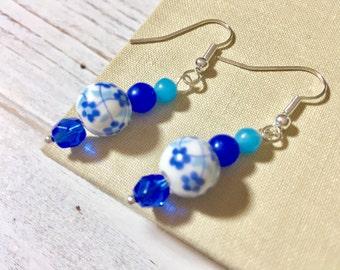 Blue Flower Earrings, Blue Floral Earrings, Ceramic Beaded Earrings, Blue Glass Earrings, Handmade by KreatedByKelly