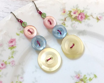 Pastel Button Earrings, Vintage Button Earrings, Repurposed Jewelry made with Vintage Buttons, Pink Blue Yellow Earrings, Spring Earrings