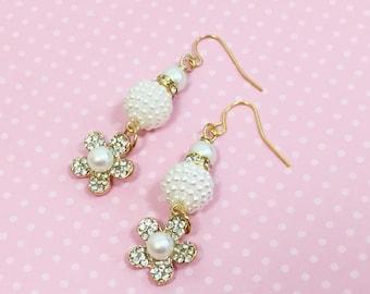 Rhinestone Flower Earrings, Pearl Earrings, Statement Earrings, Wedding Earrings, Assemblage Earrings,  Handmade By KreatedByKelly