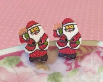 Santa Claus Earrings, Christmas Studs, Santa Studs, Wood Button Studs, Surgical Steel Studs, Festive Holiday Studs (SE2)