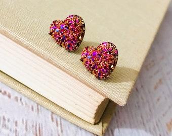 Small Rose Gold Heart Earrings, Valentine's Earrings, Faux Druzy Heart Earrings, Sparkly Earrings, Flower Girl Earrings (SE20)