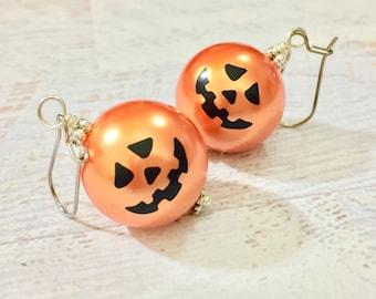 Huge Smiling Jack-o-Lantern Orange Pumpkin Earrings for Halloween, Surgical Steel