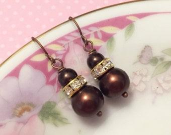 Brown Glass Pearl and Rhinestones Dangle Earrings, Simple Classic Short Drops (DE1)