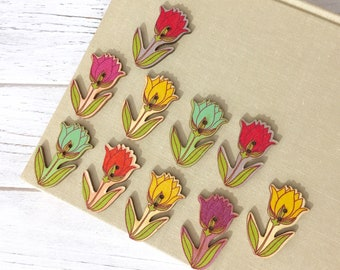 Wood Tulip Buttons, Flower Shaped Embellishment, Big Printed Novelty Floral Buttons, 2 Hole Sewing Buttons, 40mm x 24mm, 10 pieces, TU12