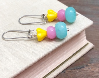 Spring Dangle Earrings, Yellow Czech Glass Flowers with Aqua and Pink Dyed Gemstone Beads and Surgical Steel Ear Wires
