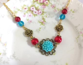 Aqua Chrysanthemum Beaded Red Pearl Vintage Style Flower Necklace