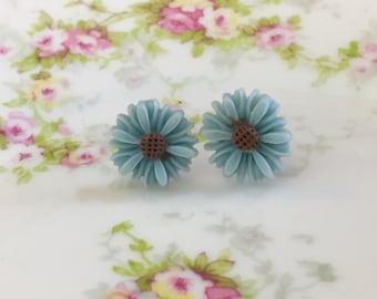 Blue Flower Earrings, Blue Daisy Stud Earrings, Flower Stud Earrings, Surgical Steel Studs,  Gerbera Daisy Studs, KreatedByKelly (SE8)