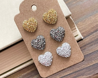 Mixed Metals Faux Druzy Sparkly Heart Stud Earrings Set in Gold, Silver and Gunmetal with Stainless Steel Posts