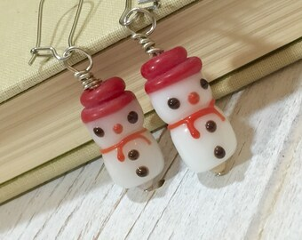 Snowman Earrings, Christmas Earrings, Frosty the Snowman Earrings, Lampwork Glass Earrings, Winter Earrings, Surgical Steel (DE2)