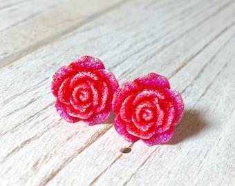 Sparkling Red Flower Stud, Red Rose Stud, Glitter Druzy Flower Stud, Surgical Steel Stud, Sugar Coated Flower Stud Earrings (SE9)