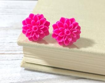 Bright Pink Flower Earrings, Pink Flower Studs, Pink Dahlia Earrings, Pink Chrysanthemum Studs, Surgical Steel Post (SE5)