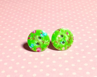 Lime Green Flower Button Studs, Pink Floral Studs, Limoges Style Studs, Button Jewelry, Surgical Steel Studs, Green Floral Studs (SE2)