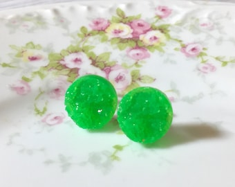 Lime Green Druzy Studs, Lime Green Studs, Green Stud Earrings, Green Drusy Studs, Druzy Jewelry, Surgical Steel Studs, KreatedByKelly (SE5)