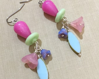 Flower Cluster Earrings, Czech Glass Earrings, Pastel Earrings, Spring Earrings, Quirky Earrings, Woodland Earrings, KreatedbyKelly