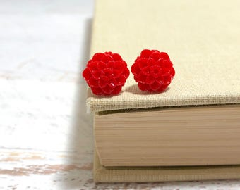 Small Little Red Chrystanthemum Mum Flower Stud Earrings with Surgical Steel Posts (SE18)