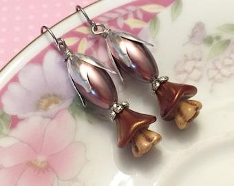 Brown Pearl Earrings, Brown Flower Earrings, Czech Glass Flower Earrings, Brown Beaded Earrings, Handmade By KreatedByKelly