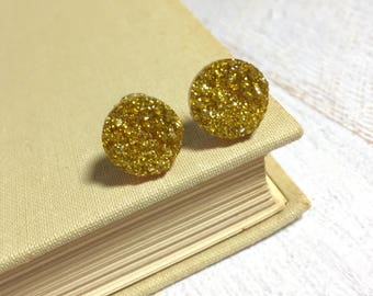 Gold Glitter Studs, Sparkling Gold Studs, Gold Stud Earring, Gold Druzy Stud, Druzy Jewelry, Surgical Steel Stud, KreatedByKelly (SE9)