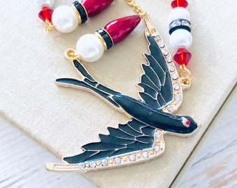 Large Enameled Metal Rhinestone Swallow Black Bird Asymmetrical Pearls and Rhinestones Rosary Style Beaded Necklace