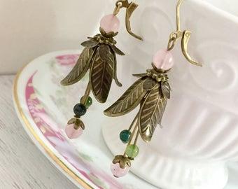 Vintage Style Tulip Earrings, Brass Flower Earrings, Green Bead Cluster Earrings, Gemstone, Pink Rose Quartz, Pretty Woodland Earrings