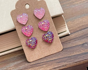 Small Sparkly Heart Earring Set in Shades of Pink, Valentine's Earrings, Faux Druzy Heart Earrings, Surgical Steel (SE1)