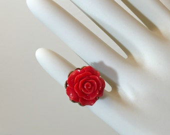 Red Rose Ring, Christmas Red Flower Ring, Flower Statement Ring, Red Rose on Filigree, Valentine's Day Jewelry, Adjustable, KreatedbyKelly