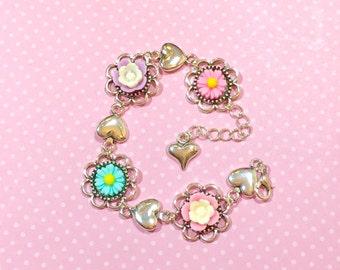 Pastel Floral Bracelet, Spring Flower Bracelet, Pink Daisy Bracelet, Silver Heart Bracelet, Lavender Rose Bracelet, Aqua Flower Bracelet