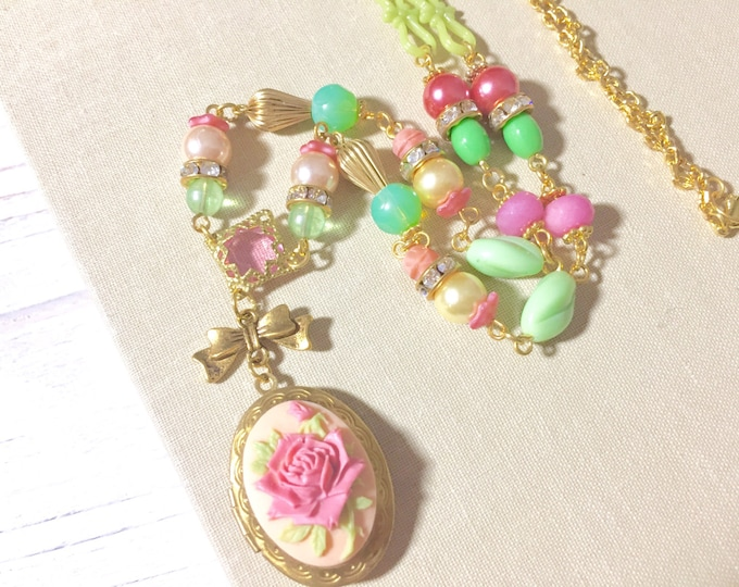 Featured listing image: Long Locket Necklace, Long Beaded Necklace, Pink Flower Necklace, Large Rose Locket Necklace, Vintage Assemblage Necklace, KreatedbyKelly