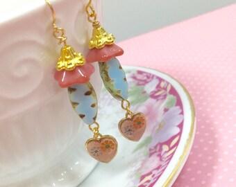Assemblage Earrings, Czech Glass Earrings, Vintage Heart Drop Earrings, Blue Flower Earrings, Pink Flower Earrings, Handmade KreatedByKelly
