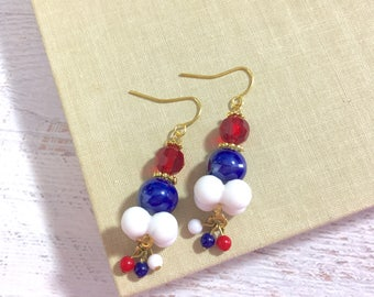 Funky Retro Beaded Cluster Dangle Earrings in Patriotic Red White and Blue for 4th of July Independence Day Surgical Steel