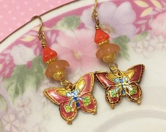 Butterfly Earrings, Cloisonne Earrings, Woodland Earrings, Floral Dangle Earrings in Orange Yellow Gold, Handmade by KreatedByKelly