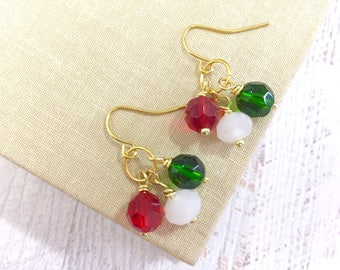 Christmas Glass Bead Cluster Short Dangle Earrings in Red White Green with Surgical Steel Ear Wires (DE1)