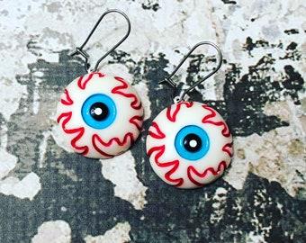 Spooky Monster Eyes Dangle Earrings for Halloween, Novelty Weird Fun Bloodshot Blue Eyes, Surgical Steel
