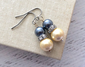 Pearl and Rhinestone Earrings in Gunmetal Gray and Creamy Beige with Surgical Steel Ear Wires