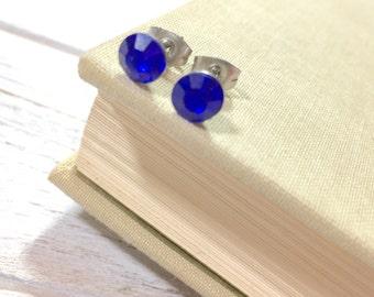 Blue Rhinestone Stud Earrings, Small Blue Rhinestone Studs, September Birthstone Studs, Blue Glass Studs, Surgical Steel Studs (HJ4)