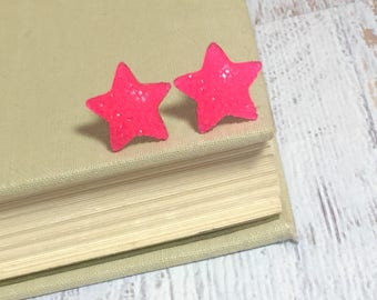 Sparkling Pink Faux Druzy Star Studs with Surgical Steel Posts (SE15)
