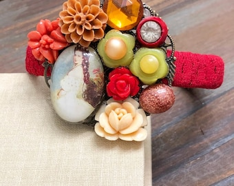 Flower Jewelry Assemblage Cuff, Cameo Cluster Bracelet, Rustic Colors, Vintage Floral Moonglow Cameo, Red Green Brown, KreatedByKelly