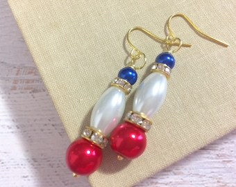 Rhinestone and Pearl Cluster Drop Earrings in Patriotic Red White and Blue for 4th of July Independence Day