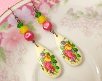 Retro Earrings, Pink Flower Earrings, Vintage Assemblage Earrings, Long Dangle Earrings, Vintage Limoges Earring Yellow Green KreatedByKelly